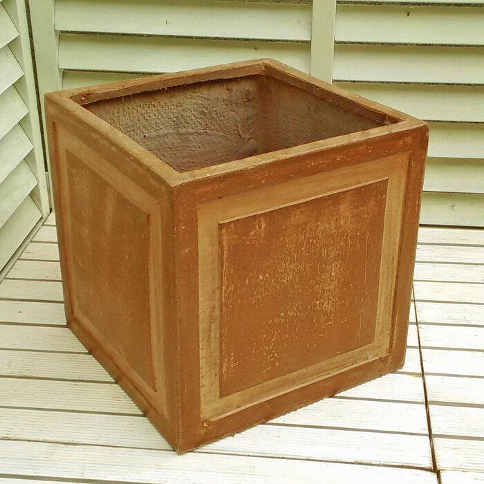【軽くて移動ラクラク!】 ファイバークレイ 植木鉢 ステップボックス 32cm STF9005 Dブラウン色 アンティークテラコッタ風 園芸 ガーデニング おしゃれ