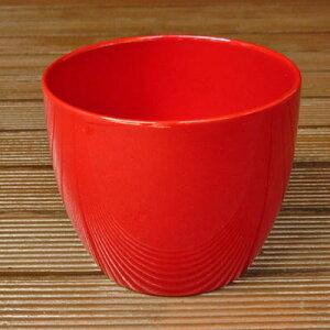 ドイツ製 鉢カバー バーゼル レッド 12cm 赤 3号鉢用 ポットカバー ハイドロカルチャー(水耕栽培)に最適な植木鉢(容器) おしゃれ 陶器鉢 Soendgen KeramiK社製 インテリアに 観葉植物にピッタ