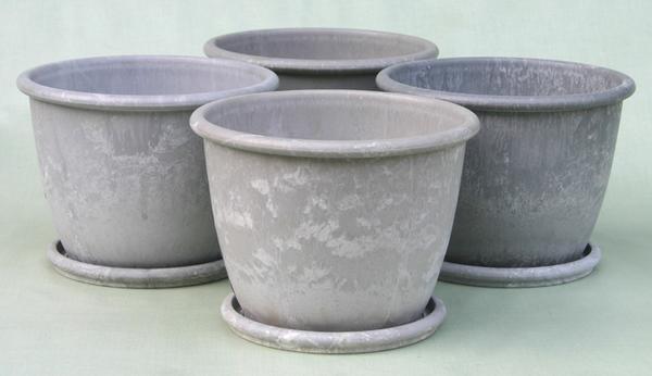 天然素材配合のプランター アートストーン L200 アルミ色 4個セット 皿付 おしゃれでアンティーク感満載のプラ鉢です!!   【RCP】