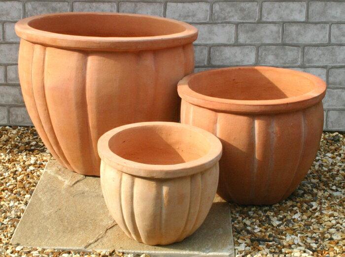 人気のベトナム鉢 ハルパ 3点セット 植木鉢 テラコッタ 素焼き鉢 陶器鉢 園芸 ガーデニング* Vietmanese Terracotta *