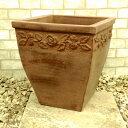 ベトナム鉢 アポロン L34cm ストームウォッシュ色 10号 テラコッタ 植木鉢 アンティーク調 陶器鉢 大型 四角 園芸 プ…