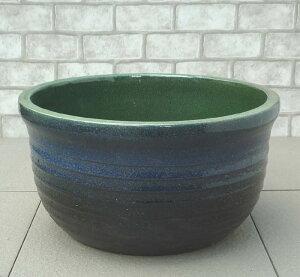 【めだかや金魚にも十分なサイズです】 中型睡蓮鉢 BL-M ブルー 11号 ☆こだわり職人の睡蓮鉢☆ 風味豊かな焼き物です 水生植物の栽培に ウォーターガーデン 陶器製 ビオトープ創りに! ス
