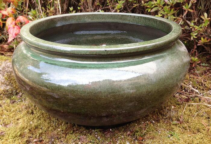 睡蓮鉢 張 12号 グリーン・ブラック 陶器製 ビオトープ創りに!メダカや金魚に最適な睡蓮鉢です!
