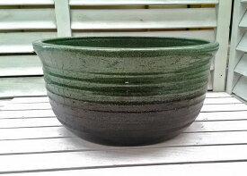 ☆こだわり職人の睡蓮鉢☆ 小型睡蓮鉢 JKS−S 11号 緑色 陶器製 ビオトープに ウォーターガーデンには欠かせない水蓮鉢です。水生植物 園芸 ガーデニング スイレン鉢 すいれん鉢 メダカ鉢 めだか鉢