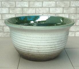 人気の睡蓮鉢 NS-L 白 14号 中型睡蓮鉢 ビオトープ創りに スイレン鉢 すいれん鉢 メダカ鉢 めだか鉢 水生植物 陶器製 園芸 ガーデニング