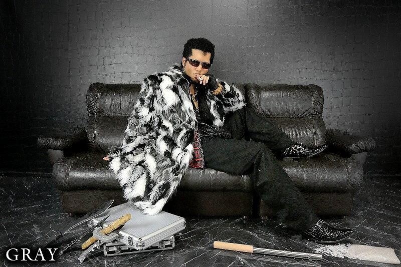 ミックスカラー ロング丈ファーコート グレー 服 オラオラ系 悪羅悪羅系 ヤクザ ヤンキー チョイ悪 チョイワル 派手 メンズ ファッション