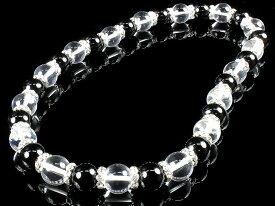 数珠 ネックレス オラオラ系 ヤクザ ヤンキー 太め14mm ロンデル× オニキス&水晶 お数珠 紳士 Men's メンズ ファッション アクセサリー ちょいワル 悪羅悪羅系