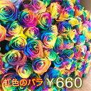バレンタイン レインボーローズ 虹色のバラ オランダ産 1本 660円 税込 60本 100本 108本も指定可能 バラ 薔薇 花束 送別 花 ブーケ お花 フラワー バレンタインデー