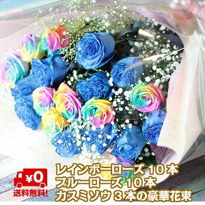 【奇跡のバラ】ブルーローズ レインボーローズ 20本 カスミソウ3本 薔薇 花束 お祝い 誕生日 記念日 贈り物 花 バラ ローズ バラの花束 青 青いバラ 花 ブーケ お花 フラワー 女性 おすすめ 人