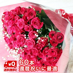 [還暦祝] バラ 60本 かすみ草付きの花束 60歳 誕生日 記念日 赤いバラ60本 かすみ草 還暦 本数 変更可能 サプライズ 【送料無料】 ギフト プレゼント お返し