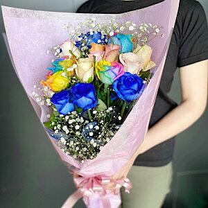 【送料無料】【ブルーローズ レインボーローズ 各5本】【ミックスバラ 10本】の合計20本 に カスミソウ の欲張り花束 青いバラ お誕生日 花 バラ ブーケ フラワー結婚祝い ホワイトデー ギ
