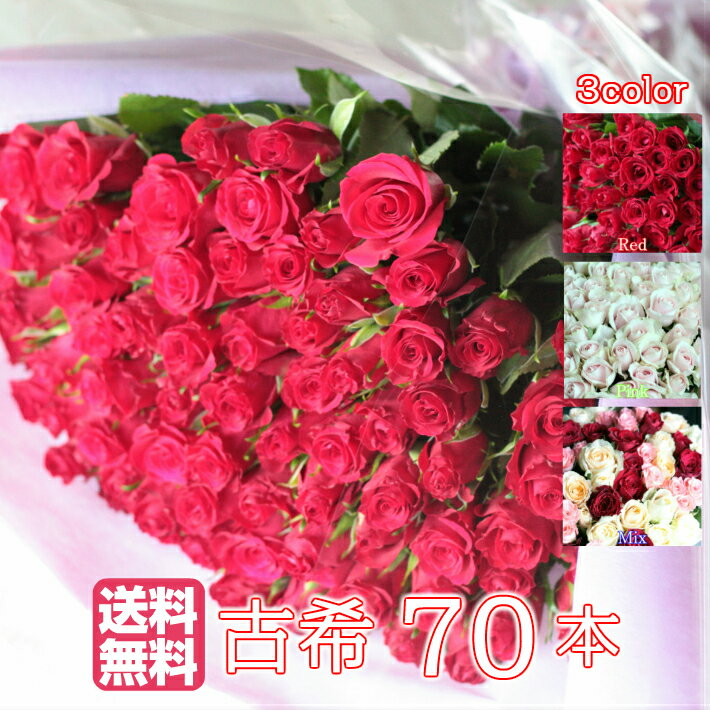 バラ70本の花束【送料無料・全色同価格】古希のお祝いや誕生日などのプレゼントにおすすめ!誕生日/送別/古希/結婚記念日/贈り物/バラ 花束