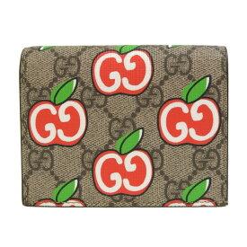 [返品OK] 美品 グッチ GGアップル 二つ折り財布 GGスプリームキャンバス アップルプリント ベージュ レッド 624641 GUCCI【中古】【送料無料】