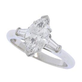 [返品OK] 美品 ハリーウィンストン マーキスブリリアント クラシックダイヤモンドリング Pt950 D:1.14ct 0.27ct 約10号【中古】【送料無料】