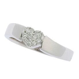 [返品OK] 美品 ポンテヴェキオ ハート ダイヤモンドリング 指輪 K18WG 750 ダイヤモンド 0.12ct ホワイトゴールド 約11号【中古】【送料無料】