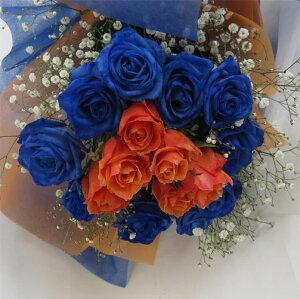 ブルーローズ バラの花束/ブルーローズブーケ&ローズ  還暦のお祝い 誕生日のお祝い【青いバラ】【smtb-tk】【
