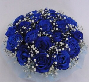 【フラワーケーキ】ブルーローズ&かすみそう【結婚祝い 花】【誕生日 花】ブルーローズとカスミ草のフラワーケーキ【青いバラ】