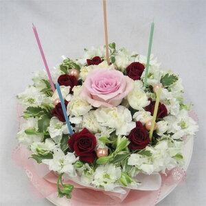 フラワーケーキ/ホワイトケーキ 【結婚祝い 花】【誕生日 花】【ケーキフラワー】【送料無料!】