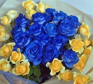 【バラの花束】ブルーローズ&イエローローズブーケ【青いバラ】【結婚祝い 花】【誕生日 花】
