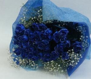 バラの花束/ブルーローズブーケ50本【結婚祝い 花】【誕生日 花】ブルーローズ50本&かすみそうの花束