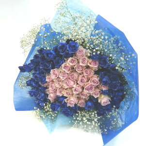バラの花束/シルバーラメブルーローズ&ピンクバラブーケ100本【smtb-tk】【結婚祝い 花】【誕生日 花】
