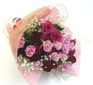 バラの花束/ピンク・赤バラ&カスミ草・花束&ブーケL