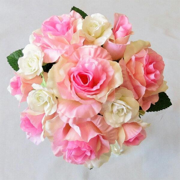 アートフラワー〔造花〕ブーケ/ブライダルブーケ/トス用 ピンク&ホワイト