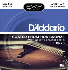 D'Addario・ダダリオ / マンドリン用弦 EXP75 Coated Phosphor Bronze Mandolin Strings, Medium/Heavy, 11.5-41 4本セット