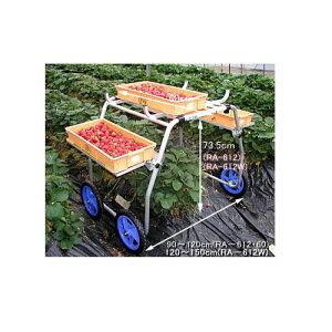 ハラックス HARAX いちご収穫用台車 タイヤ幅120〜150cm RA-612W収穫 運搬 ハウスカー 台車 農用 農業用 農業資材 農具