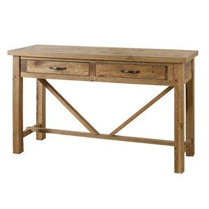 コンソールテーブル 幅140×奥行45×高さ80cm デスク 机 作業台 収納 引き出し パイン材 木製 天然木 WE-315