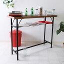 カウンターテーブル 幅110cm リビング キッチン 収納 棚 机 テーブル おしゃれ シンプル 北欧 カフェテーブル バーカウンター ハイテーブル ブラウン 10836