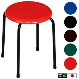 スツール 座面高さ42cm 丸イス パイプ椅子 丸椅子 丸いす 補助椅子 ラウンドスツール チェアー チェア 積み重ね収納 収納 レザー 合成皮革 シンプル 会議 飲食店 日本製 国産 シンプル 定番 デザイン