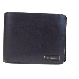 9c6f1819a350 送料無料 【中古】 バーバリー BURBERRY 二つ折り 財布 ノバチェック ブラック レザー メンズ 06H1656