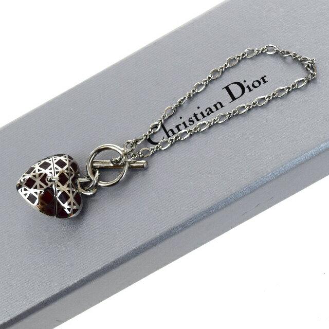 送料無料 【中古】 美品 クリスチャンディオール Christian Dior チェーン ブレスレット バングル ハート シルバー レッド 保存箱付き 03F658