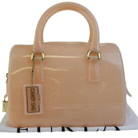 756a69a18c0c 送料無料 【中古】 美品 フルラ FURLA キャンディ ハンドバッグ ピンク ラバー パドロック 保存袋