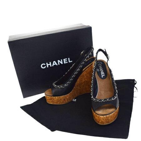 送料無料 【中古】 超美品 シャネル CHANEL サンダル ウエッジソール 靴 チェーン ブラック ブラウン レザー コルク レディース 37 24cm 84X008