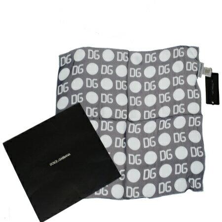 送料無料 【中古】 未使用 ドルチェ&ガッバーナ DOLCE&GABBANA スカーフ ネイビー ライトブルー シルク 100% ケース付き 03HB230