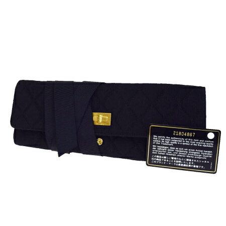 送料無料 【中古】 超美品 シャネル CHANEL 2.55 ジュエリーケース アクセサリー バッグ キルティング ブラック ナイロン 保存袋付き 21番台 80EA345