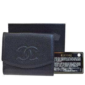 8650fceb6661 送料無料 【中古】 美品 シャネル CHANEL 三つ折り 財布 ココマーク キャビアスキン
