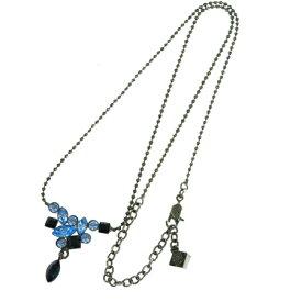 【中古】 超美品 ジバンシー GIVENCHY チェーン ネックレス ペンダント ラインストーン ブルー シルバー メタル 03B1753