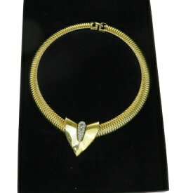 【中古】 ジバンシー GIVENCHY ネックレス ペンダント ラインストーン ゴールド シルバー メタル アクセサリー 01BA601