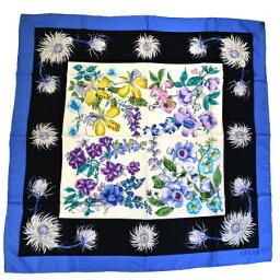 古馳GUCCI大型圍巾花紋深藍色白絲綢100%09EC945