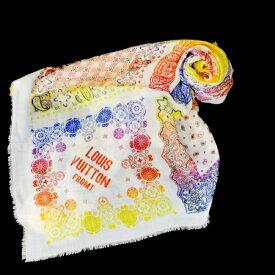 送料無料 【中古】 美品 ルイヴィトン LOUIS VUITTON ショール ストール スカーフ マフラー オフホワイト カシミヤ シルク 64EC363
