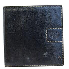 7647e6b3dcc6 中古 送料無料 【中古】 中美品 グッチ GUCCI 二つ折り 札入れ カード入れ 財布 ブラック レザー 08EC676