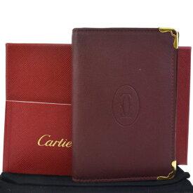 88ca2ef83e3f 中古 送料無料 【中古】 超美品 カルティエ Cartier マスト カードケース 名刺入れ パスケース 定期入れ ボルドーレッド レザー 保存箱  袋付き 69BD100