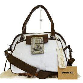 【中古】 美品 ディーゼル DIESEL ハンドバッグ ショルダーバッグ 2WAYバッグ ホワイト ブラウン キャンバス レザー 保存袋付き 03HB889