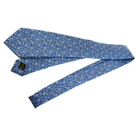 送料無料 【中古】 超美品 ルイヴィトン LOUIS VUITTON ネクタイ キーホルダー バッグチャーム パドロック柄 ブルー シルク 100% メンズ 05ED883
