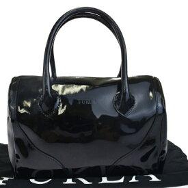 a01468c1b7e4 送料無料 【中古】 フルラ FURLA ハンドバッグ ブラック エナメル 保存袋付き 03HC060