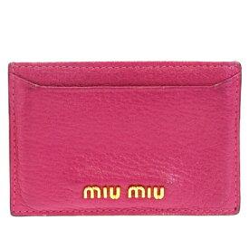 【中古】 中美品 ミュウミュウ miumiu カードケース 名刺入れ パスケース 定期入れ ピンク レザー 08HC236