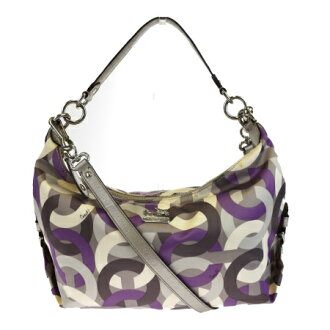 Coach COACH op art 2WAY shoulder bag gray purple nylon leather 14291 08HC702